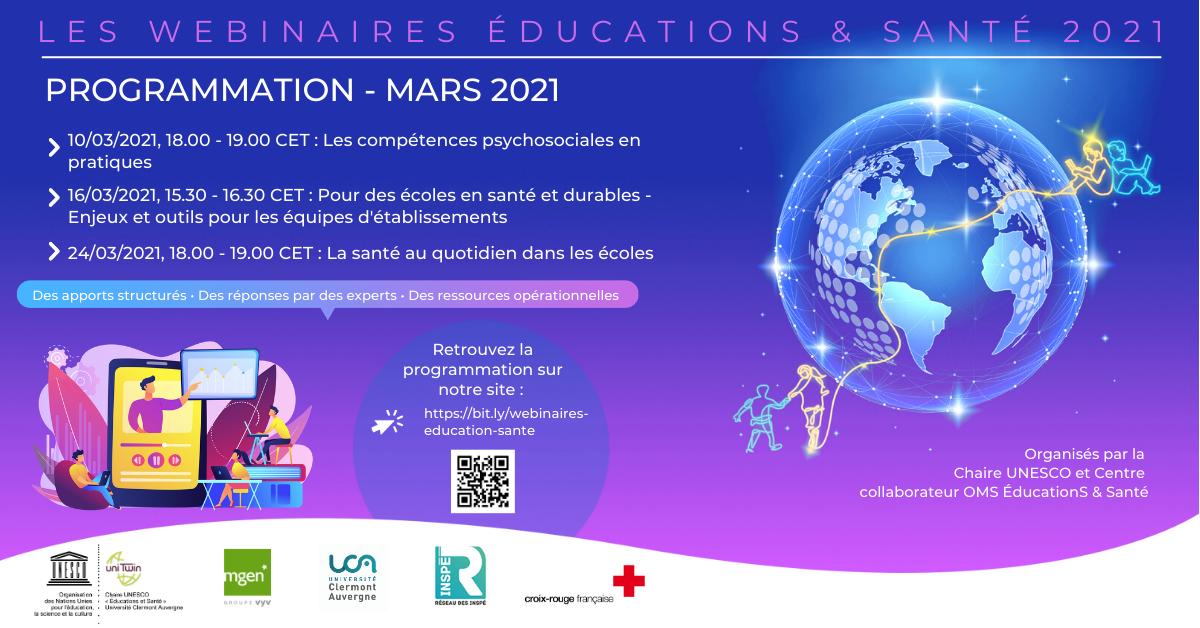 Webinaires Éducations & Santé - Programmation de mars