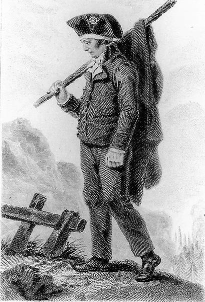 Jacques-Antoine Dulaure (1755-1835), député du Puy-de-Dôme à la Convention, sur les routes de son exil en Suisse, autoportrait gravé, Bibliothèque municipale de Clermont-Ferrand, fonds Patrimoine.