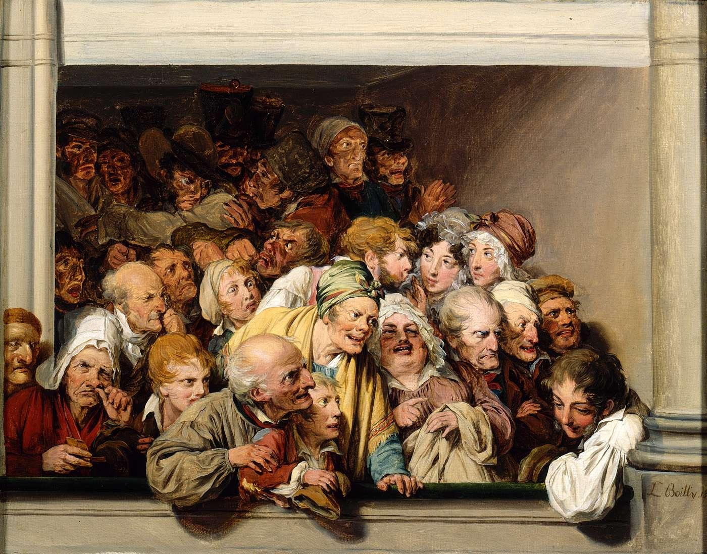 Louis-Léopold Boilly (1761-1845), Une loge, un jour de spectacle gratuit, 1830